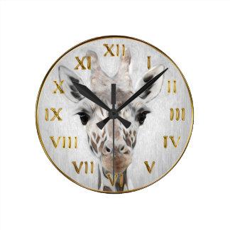 Majestätische Giraffe schilderte produktreiches Runde Wanduhr