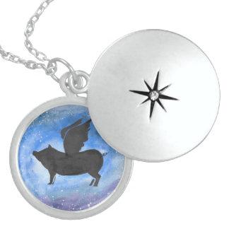 Majestätischer Fliegen-SchweinLocket Sterling Silberkette