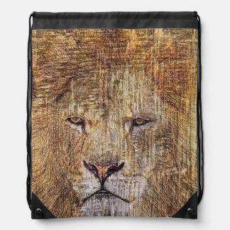 Majestätischer Löwe der Afrika-Safaritierwild Turnbeutel