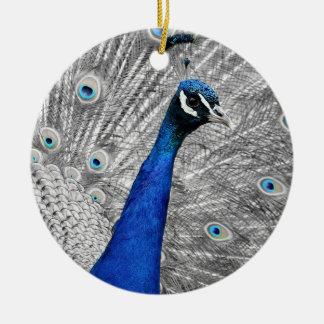 Majestätischer Pfau Rundes Keramik Ornament