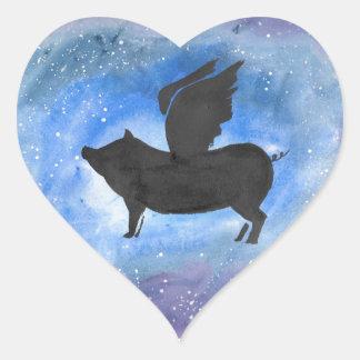 Majestätisches Fliegen-Schwein Herz-Aufkleber