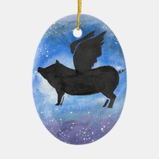 Majestätisches Fliegen-Schwein Keramik Ornament