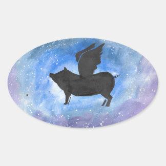 Majestätisches Fliegen-Schwein Ovaler Aufkleber