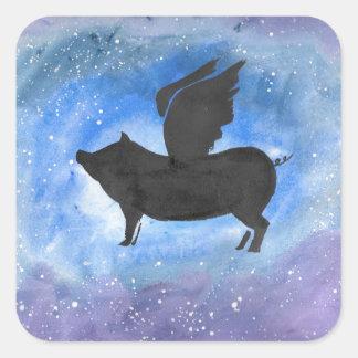 Majestätisches Fliegen-Schwein Quadratischer Aufkleber