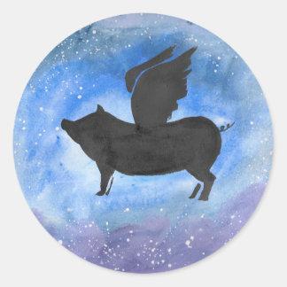 Majestätisches Fliegen-Schwein Runder Aufkleber