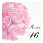 Majestätisches rosa Rosen-16. Einladungskarten