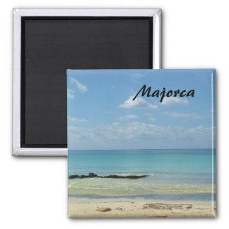 Majorca Strand - Andenken-Magnet Quadratischer Magnet