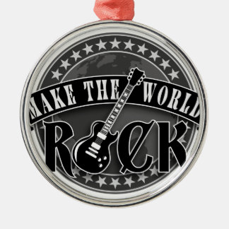 make the world rock electric guitar silbernes ornament