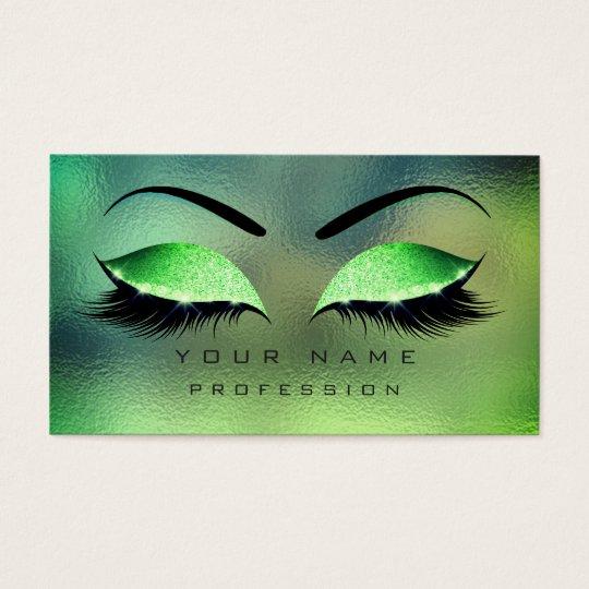Make-up mustert Peitschen-Glitzer-tropische grüne Visitenkarte