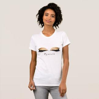 Make-up peitscht schwarze goldene T-Shirt