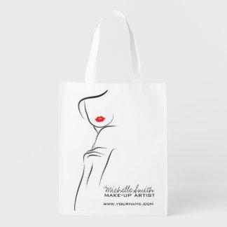 Make-upikonen-Frauengesicht in den Schwarz-weißen Wiederverwendbare Einkaufstasche