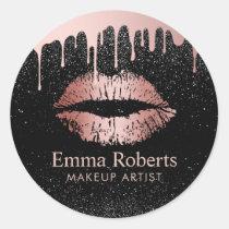 Make-upkünstler-Bratenfett-Rosen-Goldlippensalon Runder Aufkleber