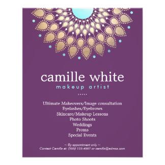 Make-upkünstler-elegantes Goldverziertes Motiv lil 11,4 X 14,2 Cm Flyer