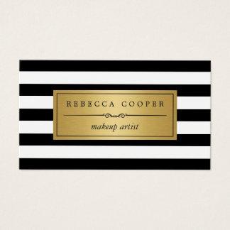 Make-upkünstler - GoldSchwarz-weiße Streifen Visitenkarten