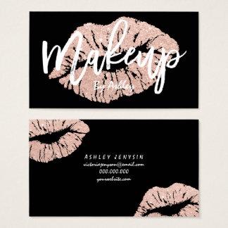Make-upkünstler-RosengoldGlitter-Lippentypographie Visitenkarte