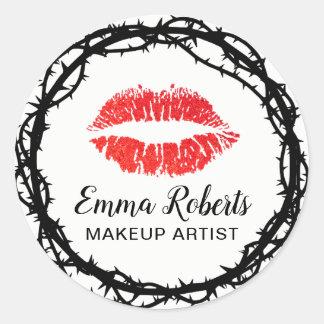 Make-upkünstler-rote Lippenstilvoller Dorn gerahmt Runder Aufkleber