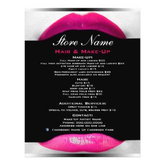 Make-upkünstler-Schönheits-Salon-Liste des 21,6 X 27,9 Cm Flyer
