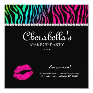 Make-upParty Einladungzebra-Regenbogen-Schmuck Quadratische 13,3 Cm Einladungskarte