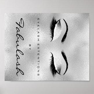 Make-upschönheits-Salon-Namen-Silber-Glitzer-Grau Poster