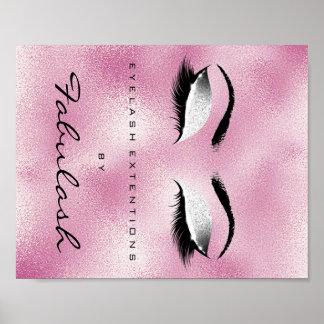 Make-upschönheits-Salon-Namen-Silber-Glitzer-Rosa Poster