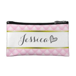 Make-uptasche Prinzessin-Pink Cushion Monogram Makeup-Tasche