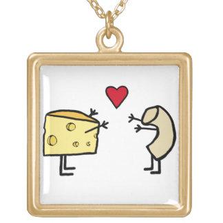 Makkaroni mit Käse-Halskette Halskette Mit Quadratischem Anhänger