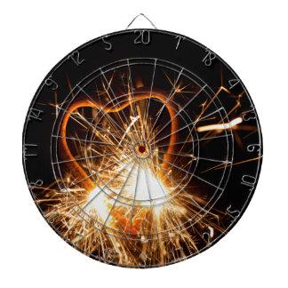 MakroFoto eines brennenden Sparkler in der Form Dartscheibe