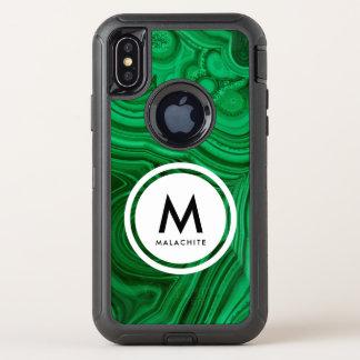 Malachit-Mineral-Monogramm OtterBox Defender iPhone X Hülle