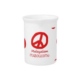 Malayalam-Sprache und Friedenssymbol-Entwurf Getränke Pitcher