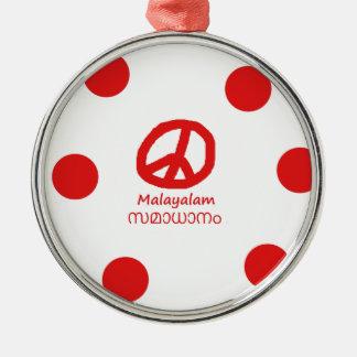 Malayalam-Sprache und Friedenssymbol-Entwurf Silbernes Ornament