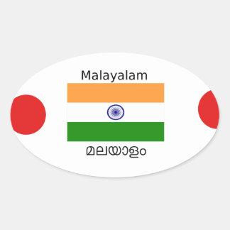 Malayalam-Sprache und Indien-Flaggen-Entwurf Ovaler Aufkleber