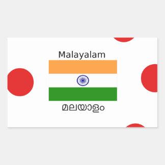 Malayalam-Sprache und Indien-Flaggen-Entwurf Rechteckiger Aufkleber