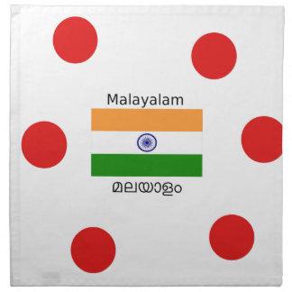 Malayalam-Sprache und Indien-Flaggen-Entwurf Stoffserviette