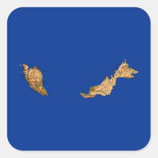 Malaysia-Karten-Aufkleber Quadratischer Aufkleber