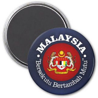 Malaysia mit Motto Runder Magnet 7,6 Cm