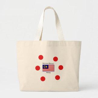 Malaysiaflaggen-und -malaie-Sprachentwurf Jumbo Stoffbeutel