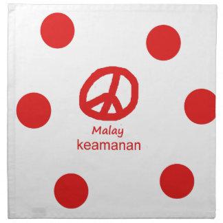 Malaysische Sprache und Friedenssymbol-Entwurf Stoffserviette
