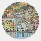 Malcesine auf See Garda durch Gustav Klimt Runder Aufkleber