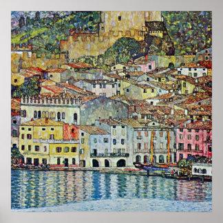 Malcesine auf See Garda durch Klimt, Kunst Nouveau Poster