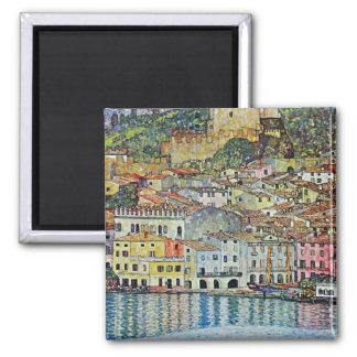 Malcesine auf See Garda durch Klimt, Kunst Nouveau Quadratischer Magnet