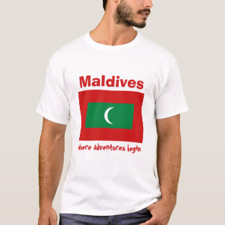 Malediven-Flagge + Karte + Text-T - Shirt