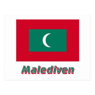 Malediven Flagge MIT Namen Postkarten
