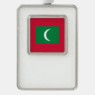 Malediven-Flagge Rahmen-Ornament Silber