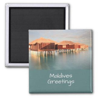 Malediven-Paradies-Strand-Bungalow-Andenken Quadratischer Magnet