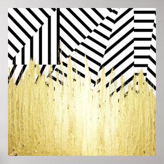 Malen Sie Anschläge im Imitat-Gold auf schwarzem Poster