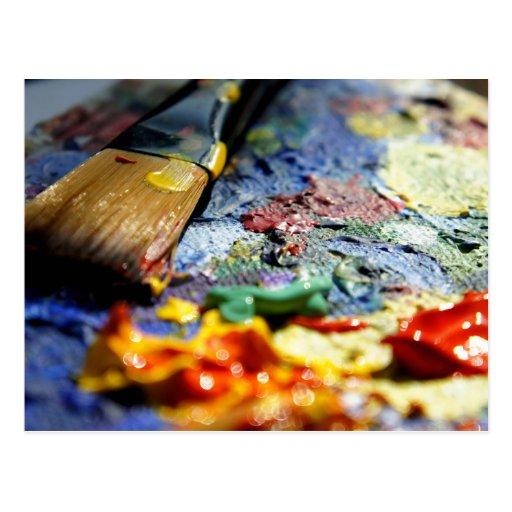 Malen Sie Paletten-Nahaufnahme Postkarten