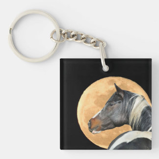 Malen Sie Pferd mit Vollmond Keychain Schlüsselanhänger