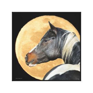 Malen Sie Pferd mit Vollmond-Leinwand-Druck Leinwanddruck