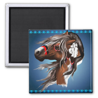 Malen Sie Pferd und versieht Magneten mit Federn Quadratischer Magnet
