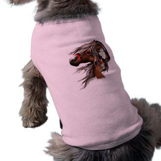 Malen Sie Pferde-und Feder-Haustier-Kleidung T-Shirt